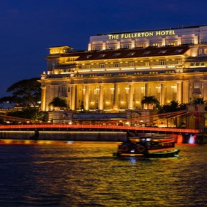 Singapore Honeymoon Packages Fullerton Hotel Exterior At Night