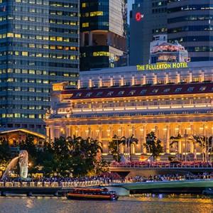 Singapore Honeymoon Packages Fullerton Hotel Exterior At Night1