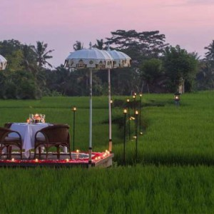 Bali Honeymoon Packages The Chedi Club Tanah Gajah, Ubud Private Dining On Rice Paddy Field