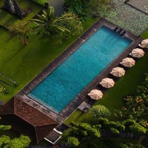 Bali Honeymoon Packages The Chedi Club Tanah Gajah, Ubud Main Pool Aerial View