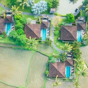 Bali Honeymoon Packages The Chedi Club Tanah Gajah, Ubud Pool Villa Aerial View