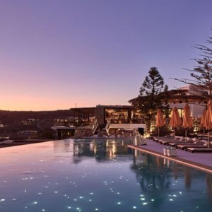 Greece Honeymoon Packages Myconian Utopia Pool At Sunset
