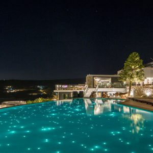 Greece Honeymoon Packages Myconian Utopia Pool At Night