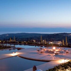 Greece Honeymoon Packages Amanzoe Amanzoe Central Terrace At Night