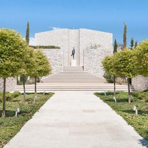 Greece Honeymoon Packages Amanzoe Walkway To Main Pool