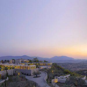 Greece Honeymoon Packages Amanzoe Resort Exterior At Night