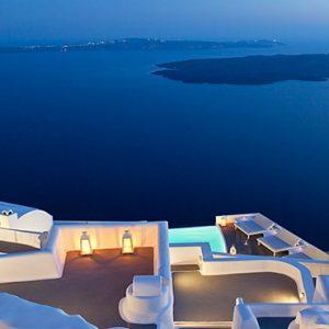 Greece Honeymoon Packages Chromata Hotel Santorini Sea View At Night
