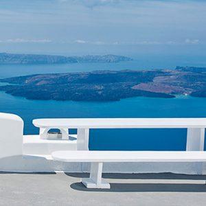 Greece Honeymoon Packages Chromata Hotel Santorini Seating Sea View