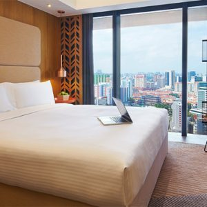 Singapore Honeymoon Packages Oasia Hotel Downtown Deluxe Room Bedroom