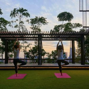 Singapore Honeymoon Packages Oasia Hotel Downtown Yoga On Open Air Sky Terrace