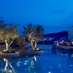 Greece Honeymoon Packages Kensho Ornos Pool At Night