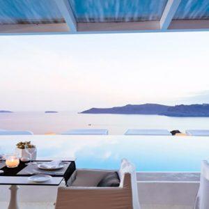 Greece Honeymoon Packages Kirini Santorini Anthos Restaurant At Sunset