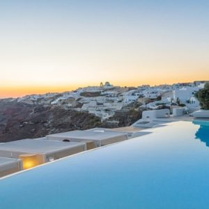 Greece Honeymoon Packages Kirini Santorini Pool At Night