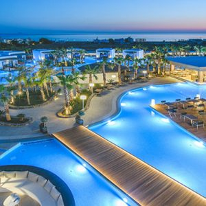 Greece Honeymoon Packages Stella Island Crete Hotel Aerial View At Night