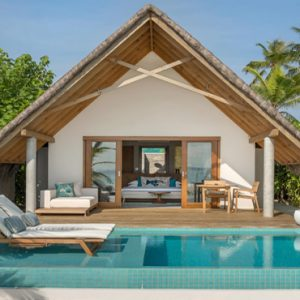Maldives Honeymoon Packages Fushifaru Pool Beach Villa Sunrise1