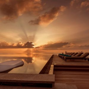 Maldives Honeymoon Packages Fushifaru Poolside At Sunset
