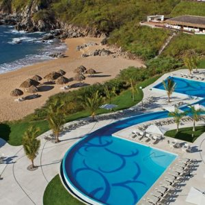 Mexico Honeymoon Packages Secrets Huatulco Resorts & Spa Pool Aerial View