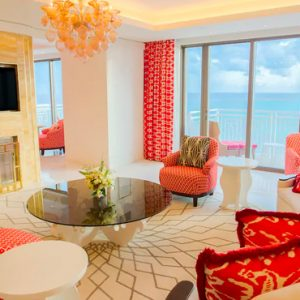 Bahamas Honeymoon Packages Grand Hyatt Baha Mar Two Bedroom Ocean View Residence Monaco With One King Bed In Each Room (East Tower) Living Room View