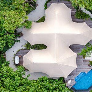 Maldives Honeymoon Packages Fairmont Maldives Sirru Fen Fushi Tents Villa Aerial View