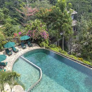 Bali Honeymoon Packages The Royal Pita Maha Pool Aerial View