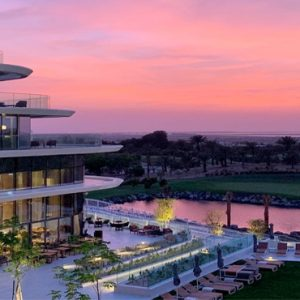 Dubai Honeymoon Packages JA Lake View Hotel Hotel Exterior At Dusk