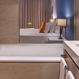 Dubai Honeymoon Packagess JA Lake View Hotel Deluxe Resort Course View Bathroom