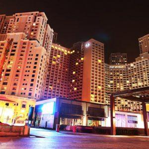 Dubai Honeymoon Packages Amwaj Rotana Hotel Exterior At Night