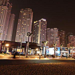 Dubai Honeymoon Packages Amwaj Rotana Hotel Exterior At Night1