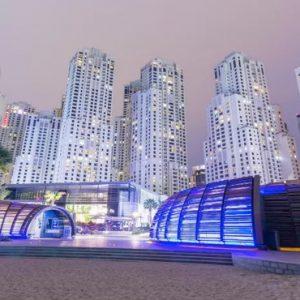 Dubai Honeymoon Packages Amwaj Rotana Beach Area At Night