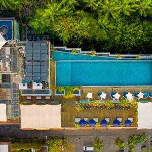 Aerial View Of Pool De Vins Sky Hotel Seminyak Bali Honeymoons