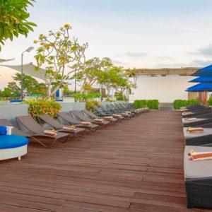 Rooftop Relaxing Stage De Vins Sky Hotel Seminyak Bali Honeymoons